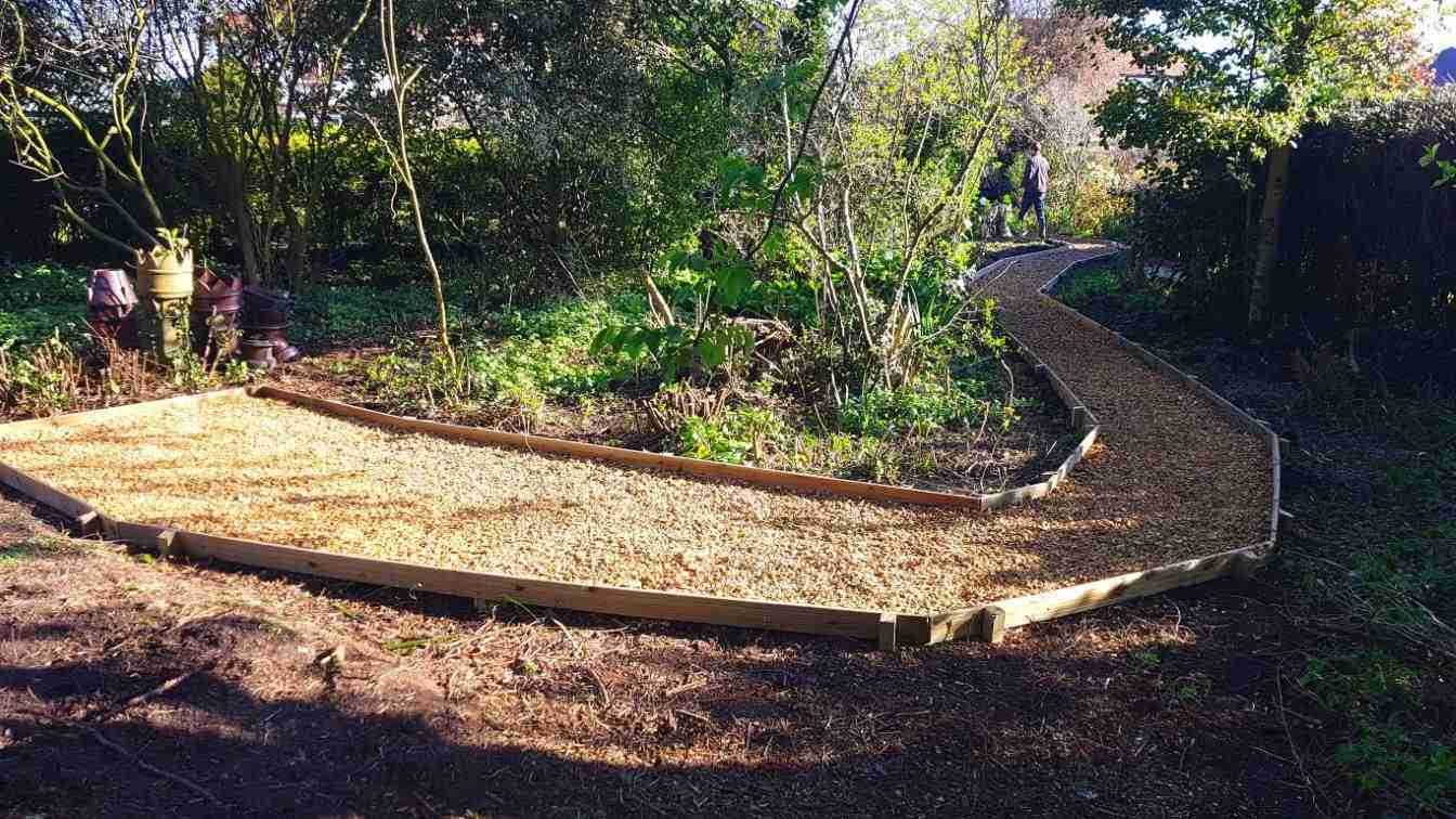 Winding gravel path in wooded area