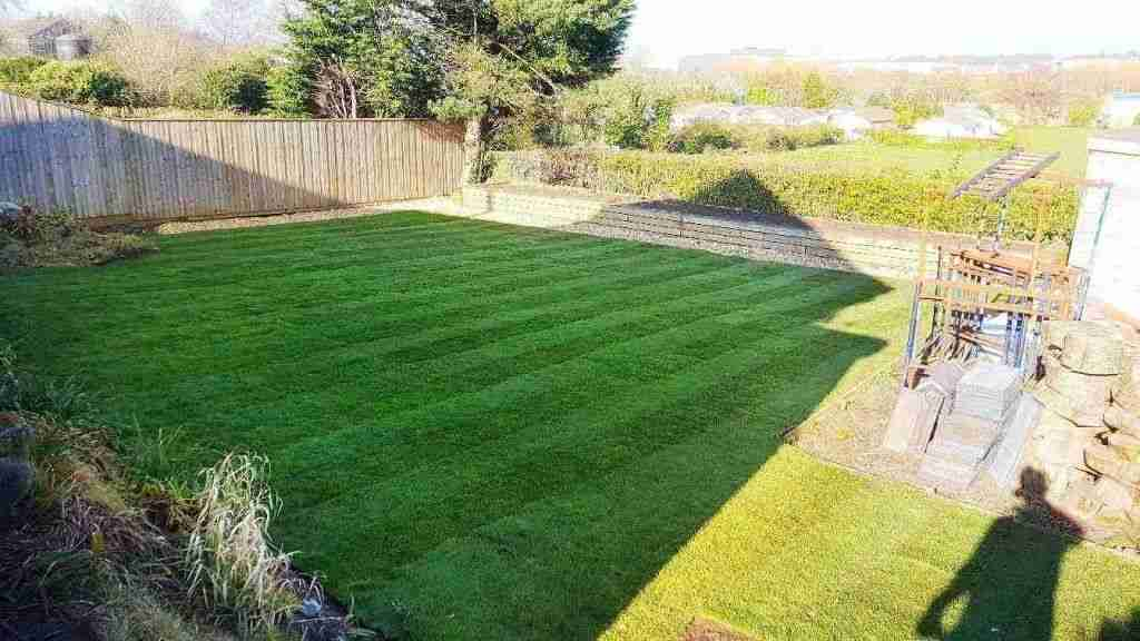 Large turfed back garden in Tarleton, Installed by Acorn Gardening.