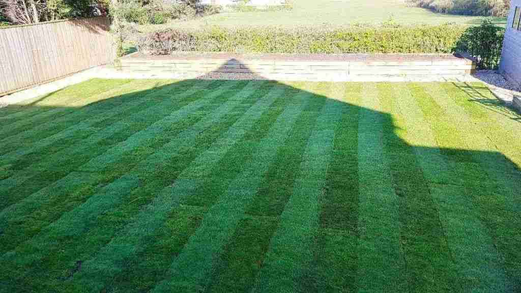 Large turfed lawn with shadow of a house on it