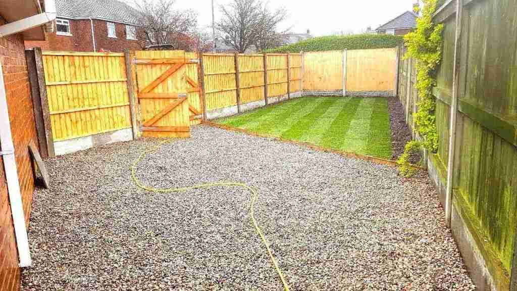 Rear garden in Leyland. New fence, gate, turf and gravel area.