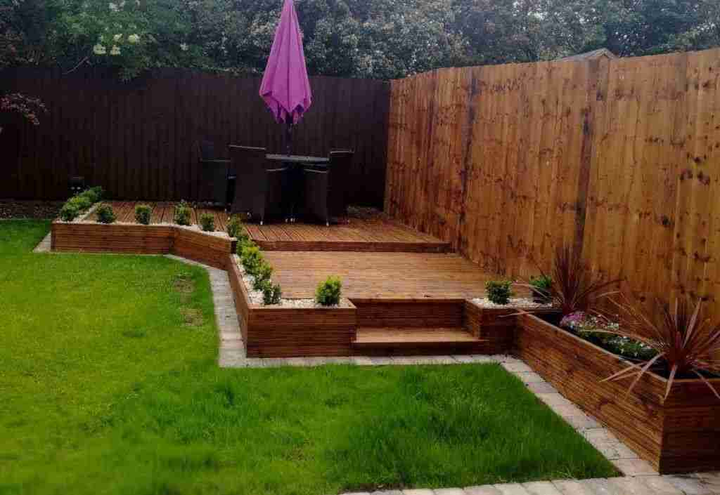 Raised hardwood decking