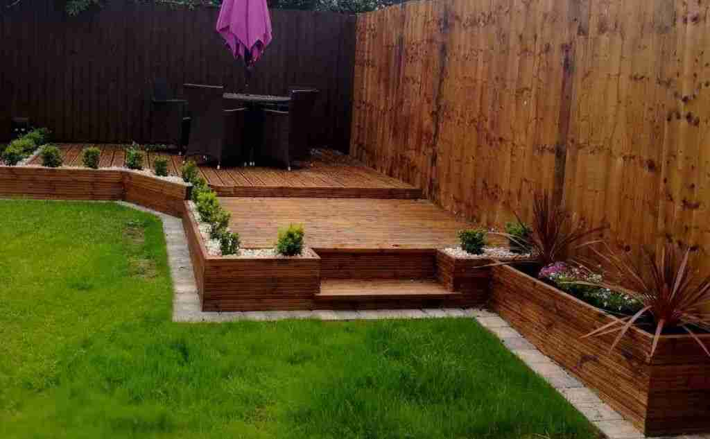 Raised decking as part of a landascape gardening project in Leyland