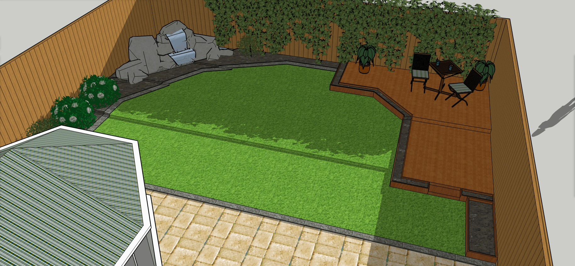 Birds eye view of 3d garden design including decking, water feature and paving
