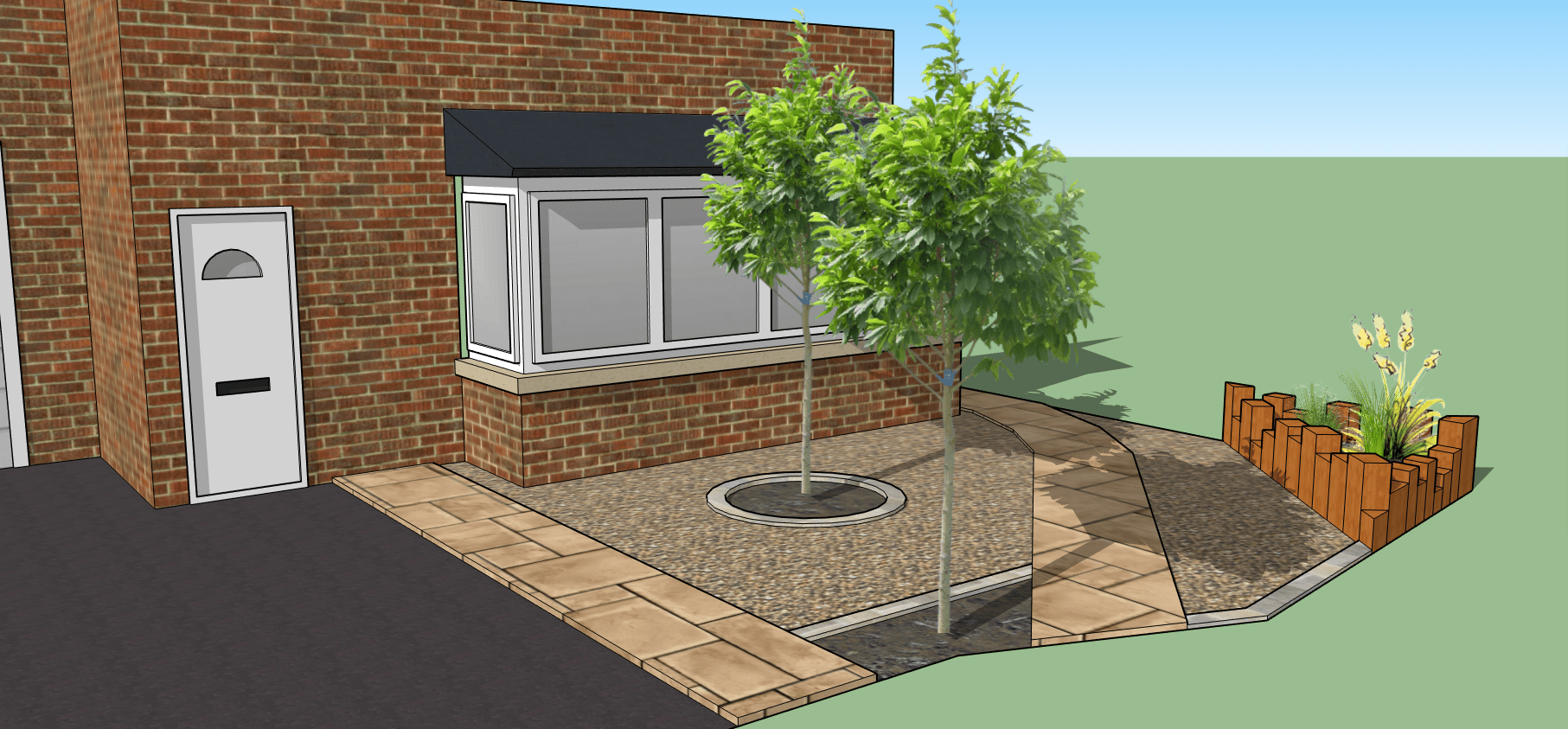 3d garden design. Small front garden with castle sleeper bed