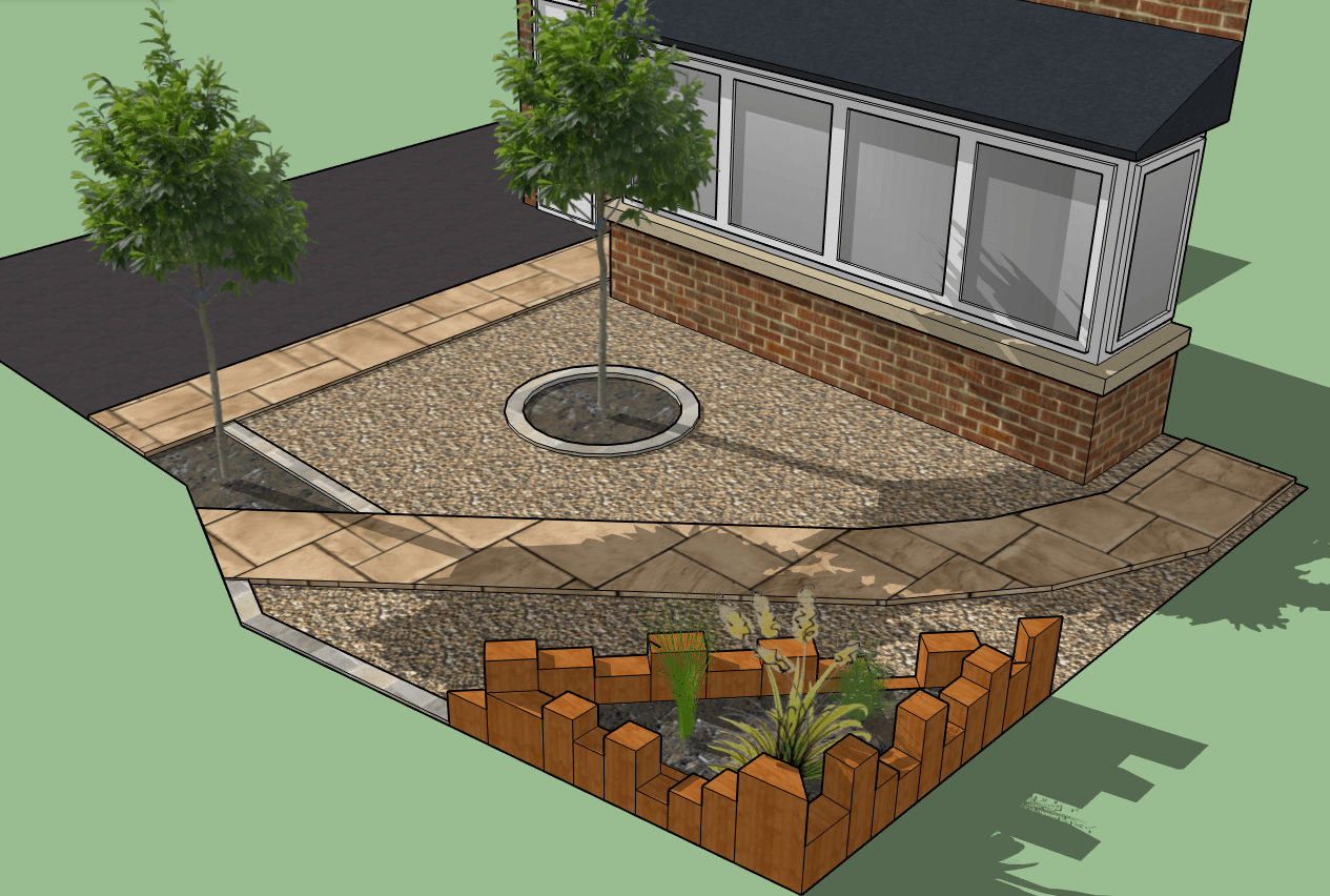 garden design. 3d rendering of small front garden with sleeper flower beds