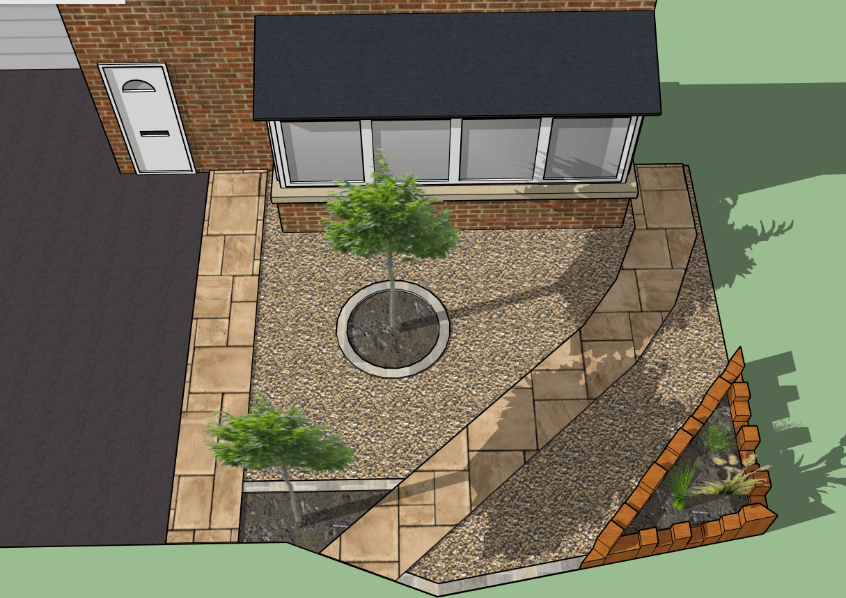 Birds eye view of small front garden design
