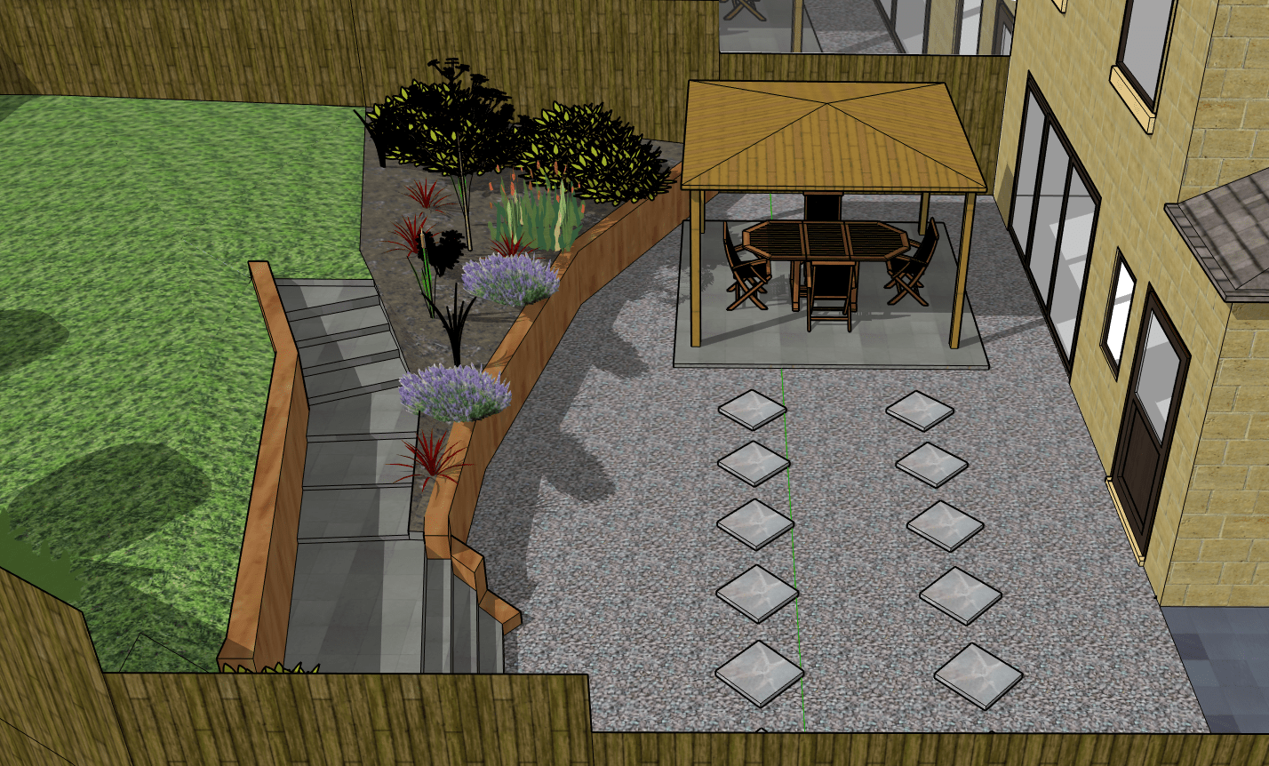 3d garden design of tiered garden with wooden gazebo