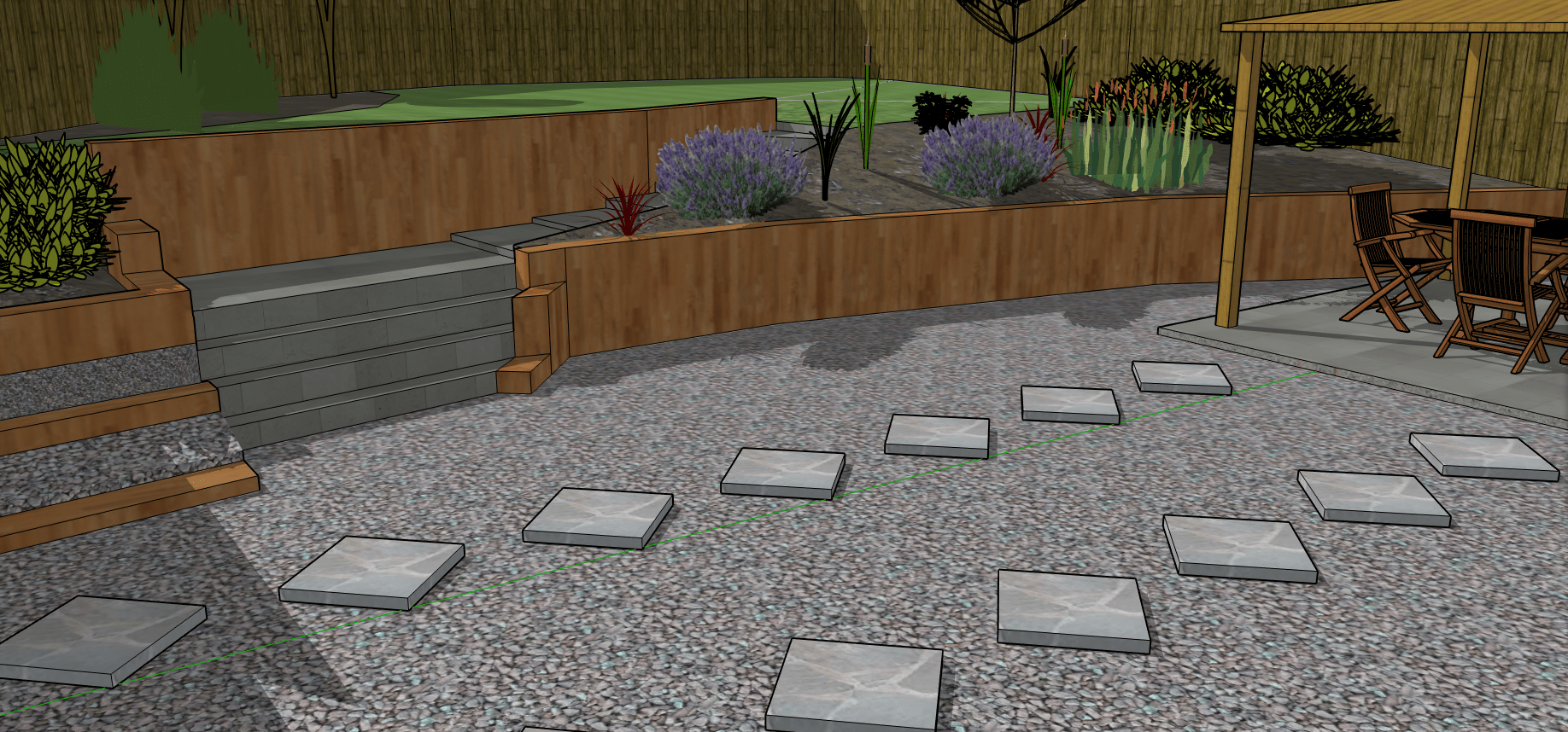 garden design. Low shot of tiered back garden with wooden sleeper retaining walls