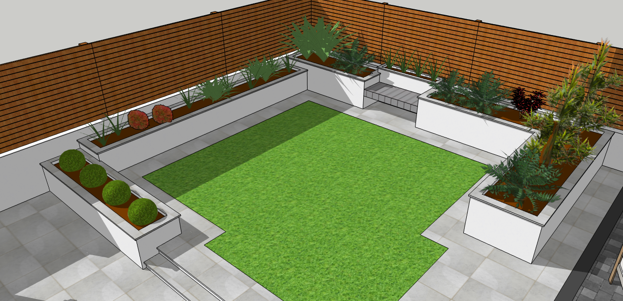 White rendered flower beds