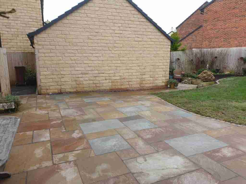 Large colourful Indian stone patio