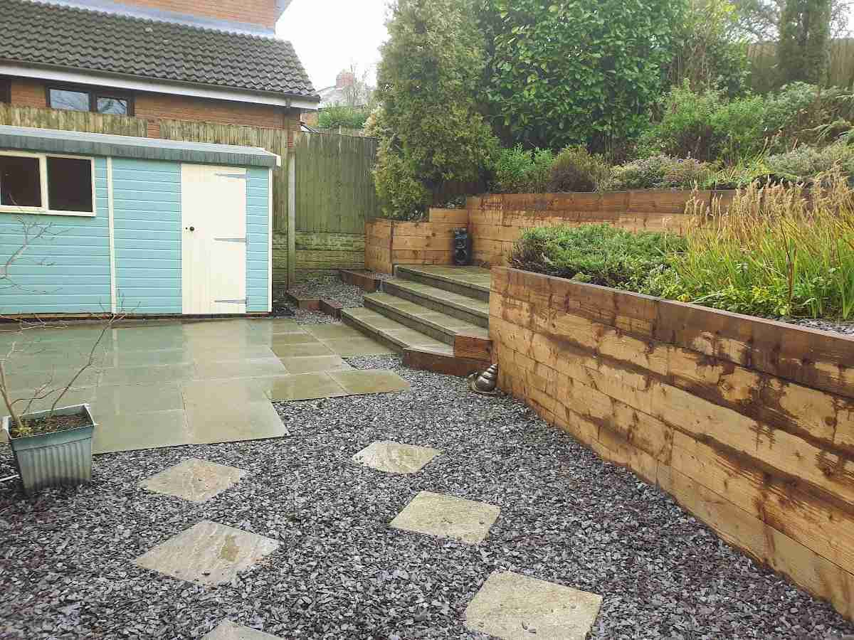 Wooden sleeper retaining wall, steps and gravel