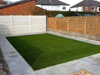 Artificial grass and porcelain paving