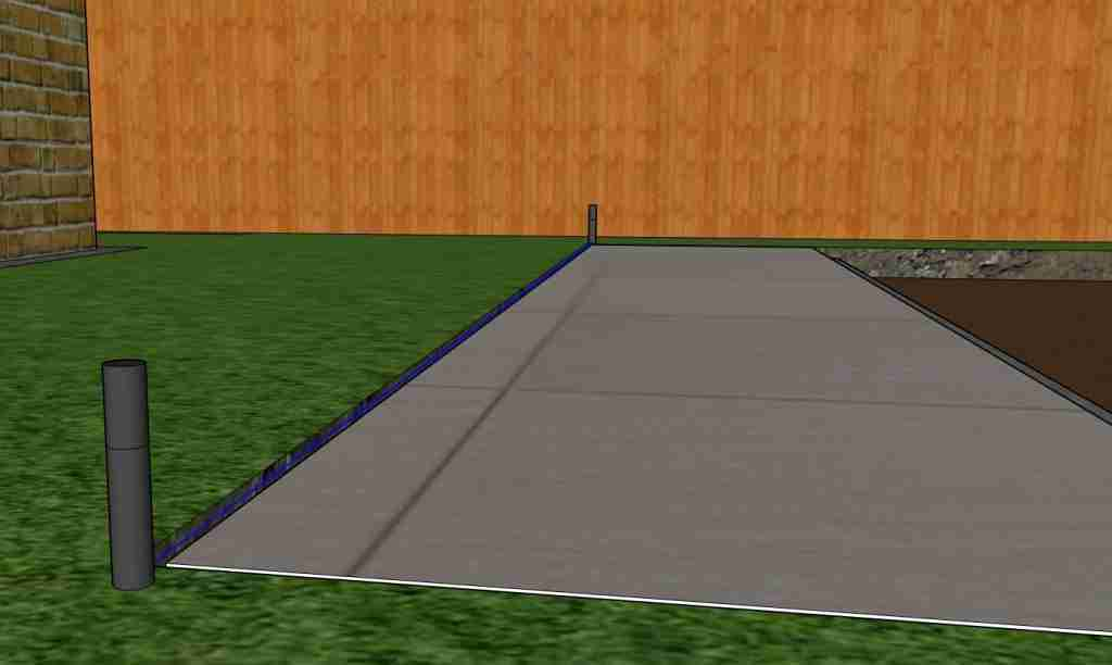 Diagram of a string line set up for laying paving