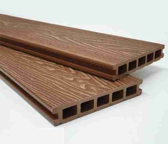 Wood effect brown composite decking