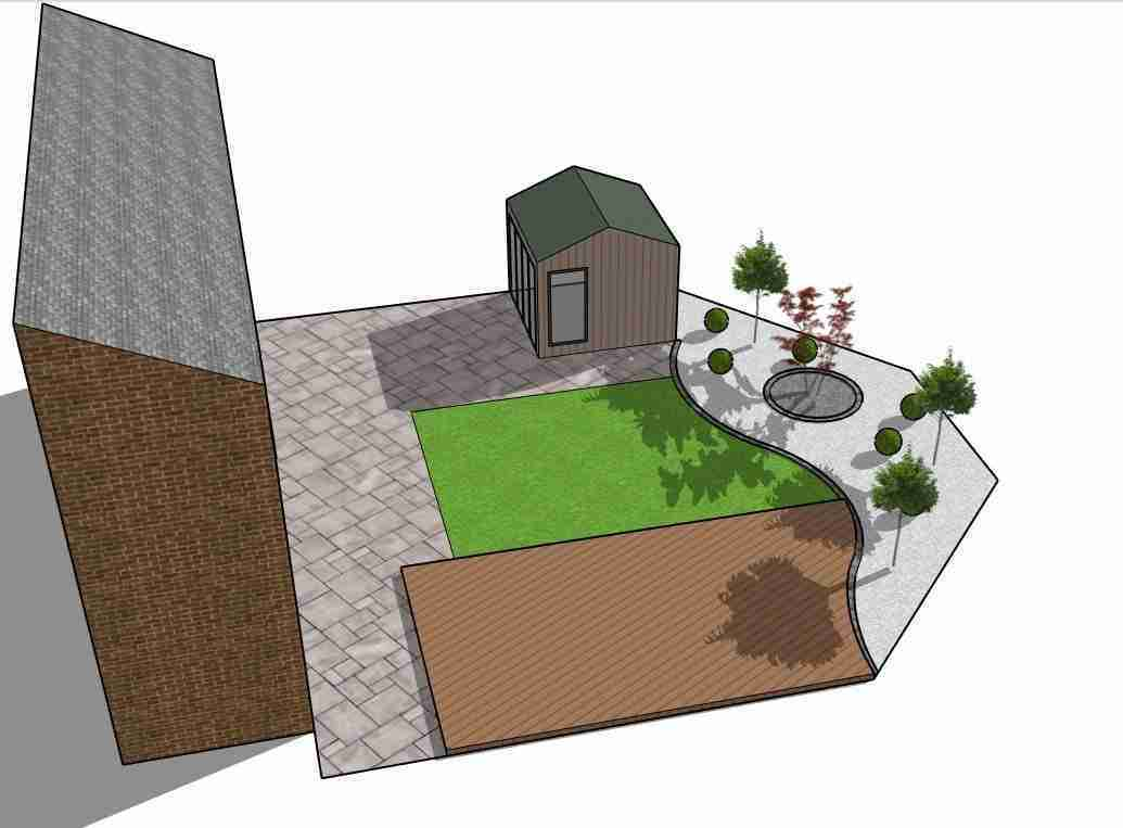 Back garden design with white marble planting area and a garden office