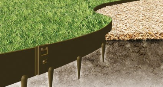 A graphic of bendy metal artificial grass edging by Everedge