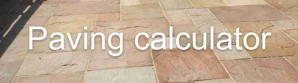 Paving calculator banner with light Indian stone paving in the background