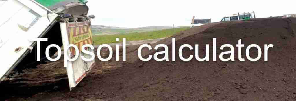 Image of soil being tipped and top soil calculator title overlay