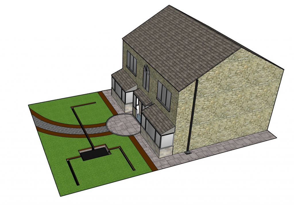 French drain and soakaway crate garden drainage system