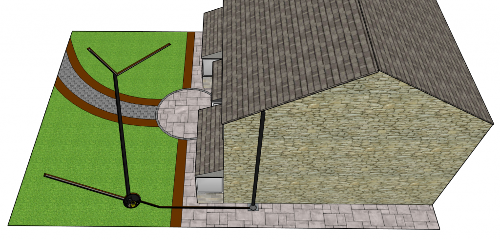 French drain and pump garden drainage system