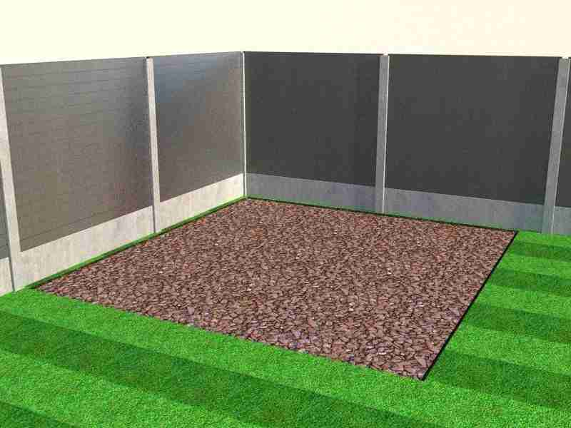 Compacted hardcore base for composite decking