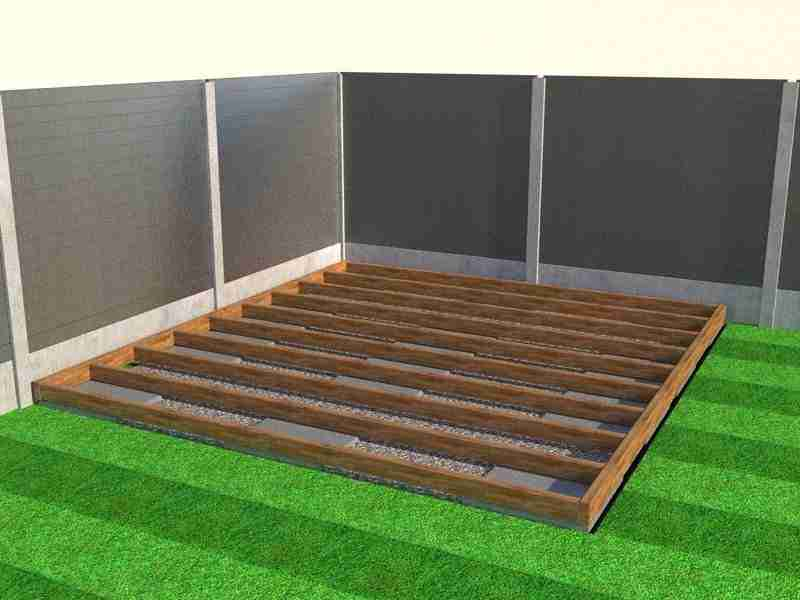Treated timber decking frame set on concrete supports