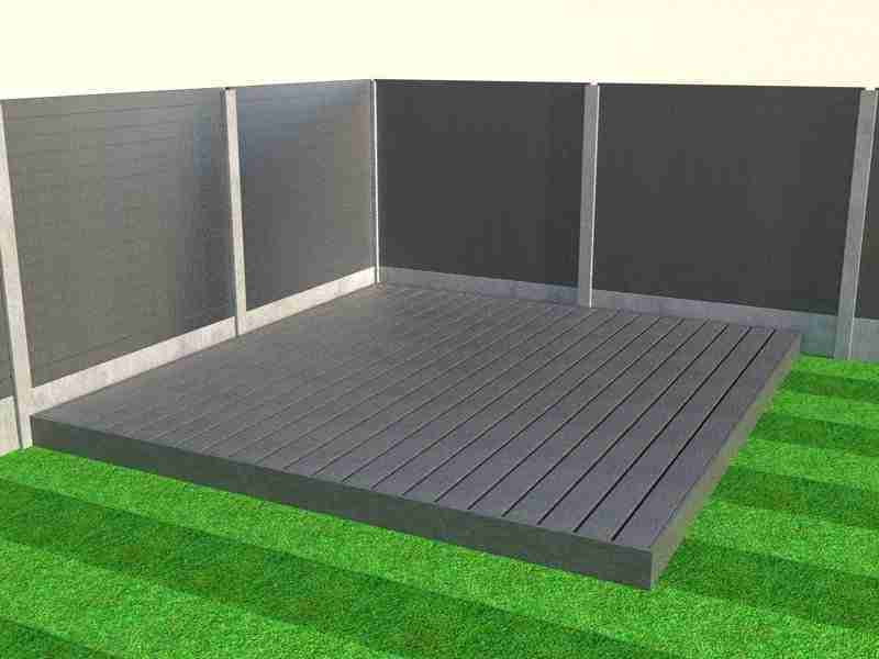 Slate grey composite decking boards with fascia boards