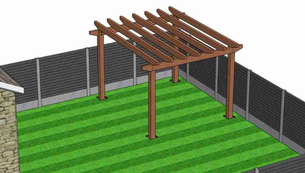 Top joists fitted onto the pergola