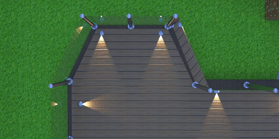Composite decking with glass balustrade picture framing and decking lights