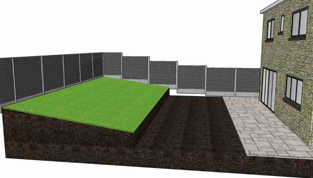 Front area of sloped lawn removed to turn into tiered lawn