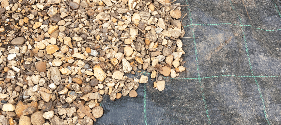 Gravel laid on weed membrane
