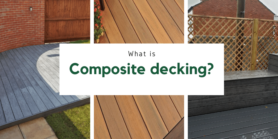 Banner saying what is composite decking with some examples of grey and brown decking