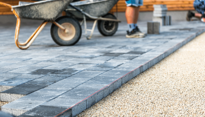 Block paving with string line