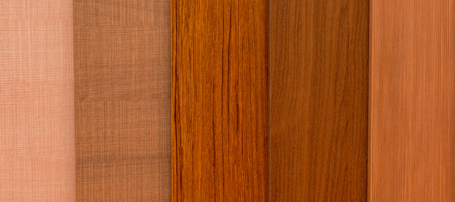Various colours of decking board