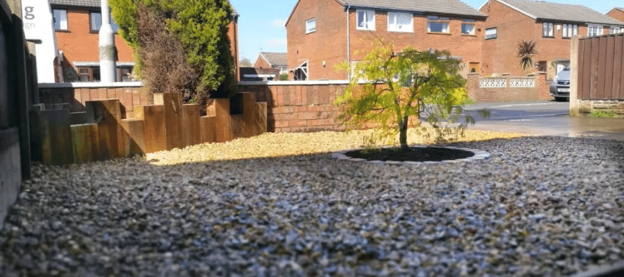 Gravel area which can be a good cheaper alternative to decking