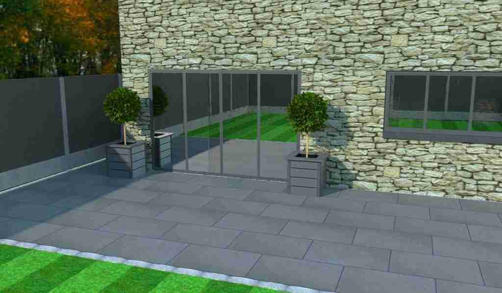 Stylish composite planters in front of stone house
