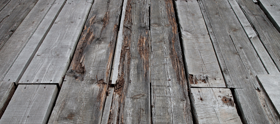 Old cracked wooden decking