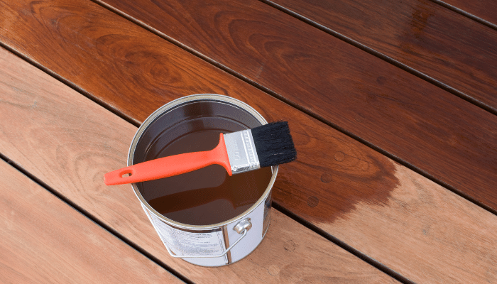 Decking oil applied to hardwood decking showing the rich colours and wood grain