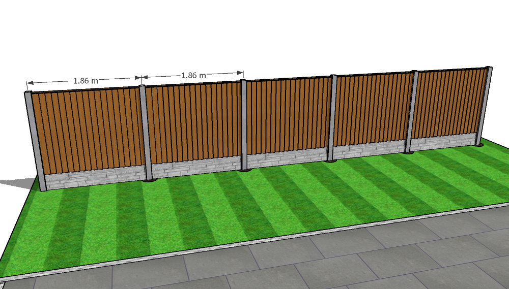 Fully installed close board fence with concrete fence posts