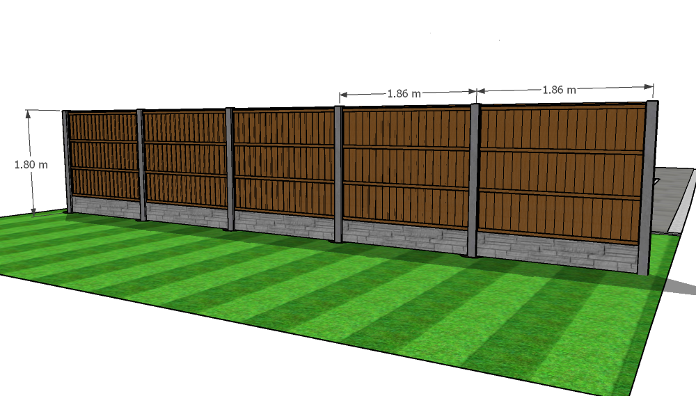 Rear view of close board fence panels