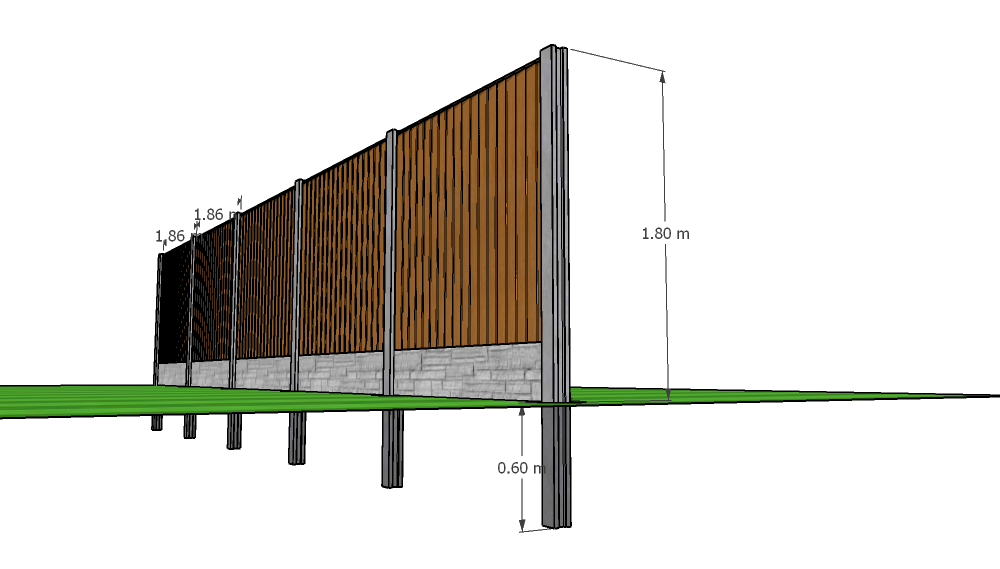 Side view of concrete posts with 0.6m below ground and 1.8m above ground