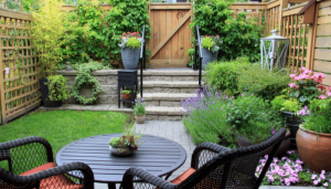 Small garden design with lots of planting and well used space