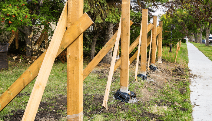 Installing wooden fence posts