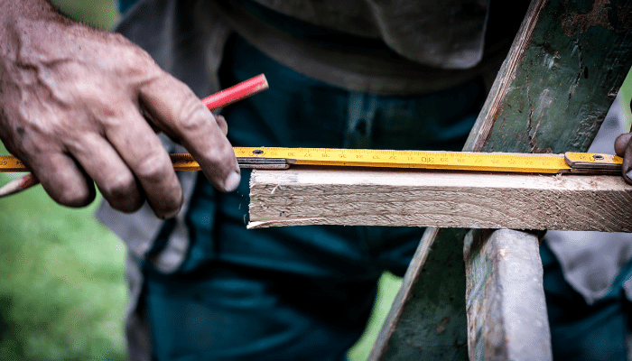 Measuring a piece of wood