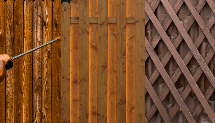 Various types of wooden fence