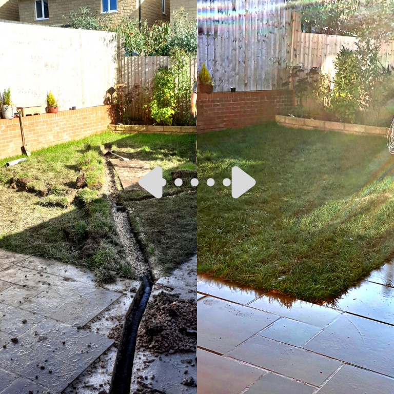 french drain installation before and after
