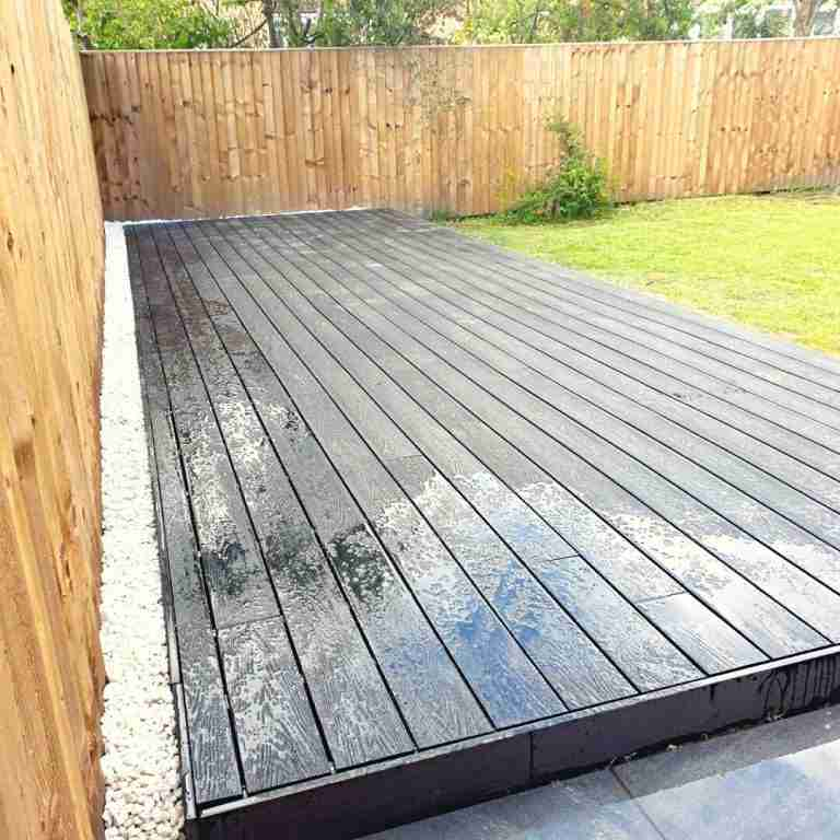 black composite decking with water shimmer