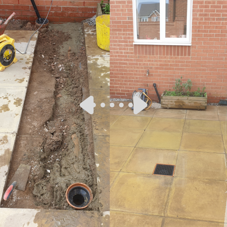 Before and after paving lifted for drainage