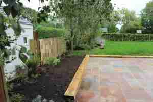 Landscaping job with paving, fencing and wooden sleepers