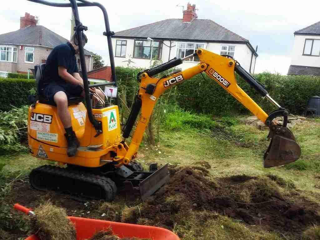 Digging out an area before creating terraces